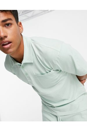 JACK & JONES Originals co-ord washed jersey polo in mint