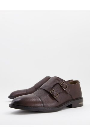 WALK LONDON Oliver monk shoes in tan pebble leather
