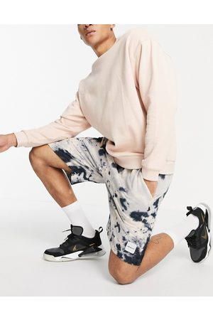 Mennace Co-ord jersey shorts in beige and navy tie dye