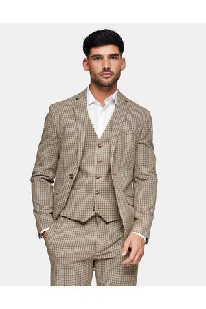 Topman Skinny single breasted suit jacket in stone check