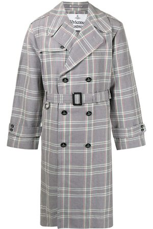 Vivienne Westwood Men Trench Coats - Checked double-breasted trench coat