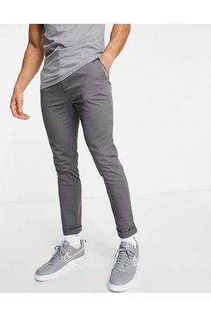 Topman Organic blend stretch skinny chinos in charcoal