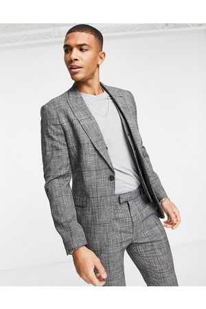 Topman Skinny double breasted suit jacket in check