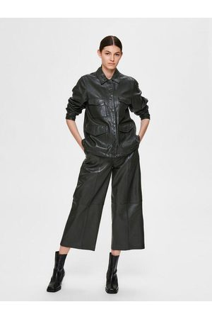 SELECTED Women Leather Pants - Mid Waist Cropped Leather Trousers /Rosin