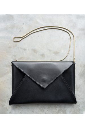 beaumont Pamplona Leather Envelope Clutch Bag in Black