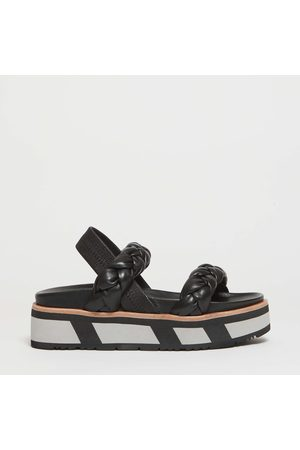 uno8uno 55Mm Rubber Wedge Sandal In Leather Interlaced