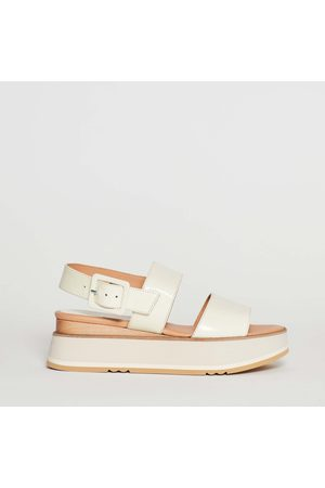 Paloma Barceló Wedge Sandal Two Bands In Cream Rubber Bottom Skin