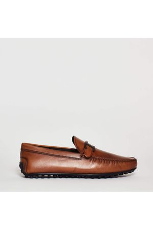 Tod's Moccasin City Grommet 42C Leather With Buckle T Leather, Rubber Bottom