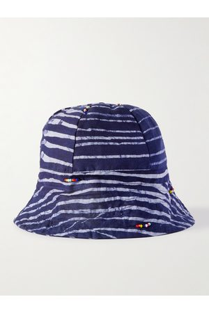 Post-Imperial Beaded Striped Indigo-Dyed Cotton Bucket Hat