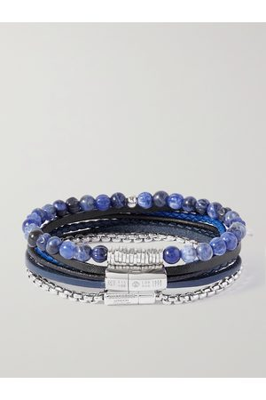 TATEOSSIAN Set of Three Leather, Sodalite and Sterling Silver Bracelets