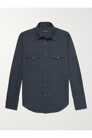 TOM FORD Slim-Fit Checked Cotton Western Shirt