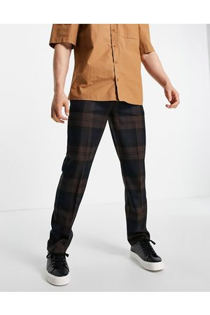 River Island Checked trousers in brown and
