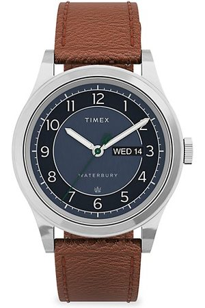 Timex Waterbury Traditional Stainless Steel & Leather Day-Date Watch