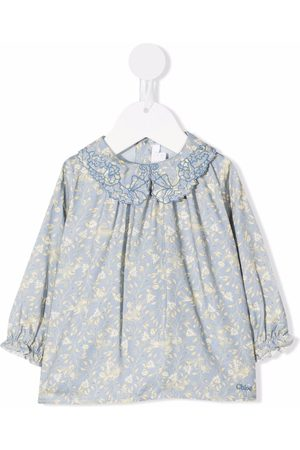 Chloé Kids Embroidered-collar floral blouse