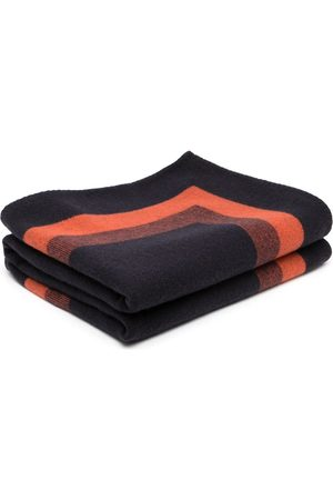 MULBERRY Leather-strap logo throw blanket