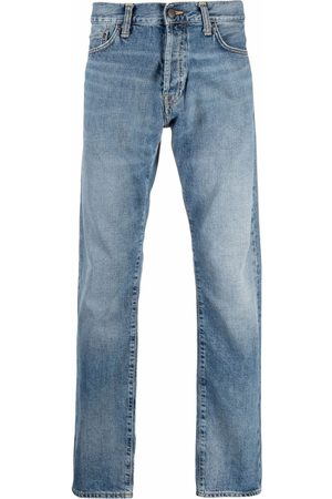 Carhartt WIP Men Straight - Stonewashed logo-patch jeans