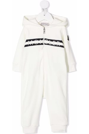 Moncler Girls Jumpsuits - Embroidered-logo hooded jumpsuit