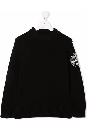 Stone Island Boys Jumpers - Embroidered-logo ribbed-trim jumper