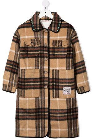 Nº21 Check single-breasted coat