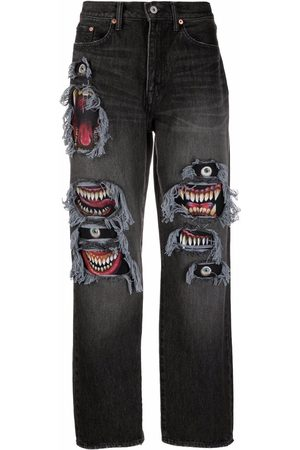 DOUBLET Men Straight - Mid-rise graphic-print jeans
