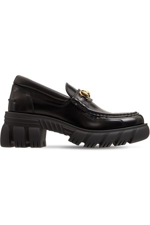 GUCCI Women Loafers - 40mm Romance Brushed Leather Loafers