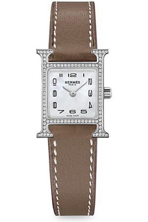 Hermès Heure H Stainless Steel, Diamond & Leather Strap Watch