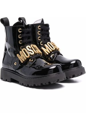 Moschino Logo-lettered leather boots