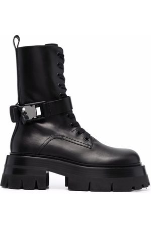 VERSACE Lace-up 60mm leather combat boots