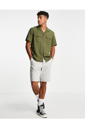 SELECTED Men Casual - Oversize shirt with double pocket khaki