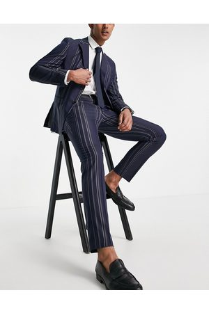 SELECTED Slim fit suit trousers in navy and white stripes