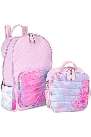Bari Lynn Girl's Quilted Watercolor 2-Piece Backpack & Lunch Box Set
