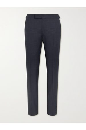 Tom Ford Men Formal Pants - Shelton Slim-Fit Prince of Wales Checked Wool and Silk-Blend Suit Trousers