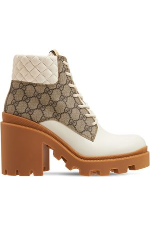 Gucci 70mm Trip Leather & Canvas Boots
