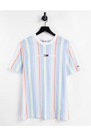 Tommy Hilfiger Pastel capsule central logo stripe t-shirt in light powdery
