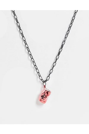 WFTW Crushed can oval link chain pendant in gunmetal
