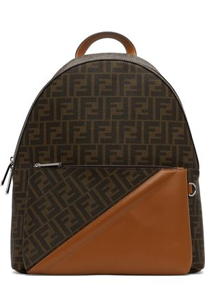 Men Suitcases & Luggage - Fendi Brown Leather 'FF' Backpack