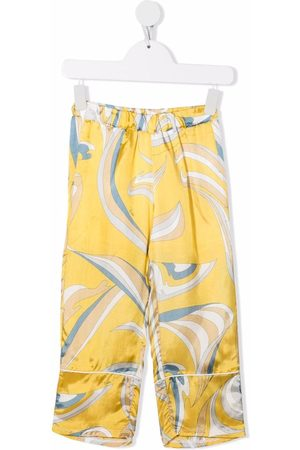 Emilio Pucci Boys Pants - Abstract-print satin trousers