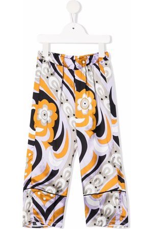 Emilio Pucci Girls Pants - All-over graphic print trousers