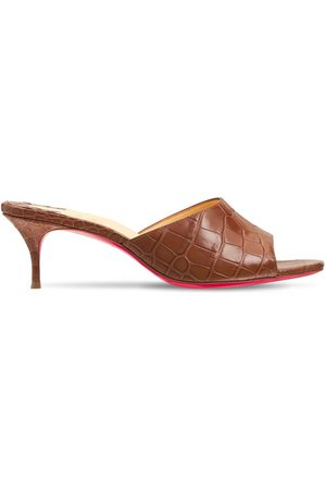 Christian Louboutin Women Sandals - 55mm East Croc Embossed Leather Mules