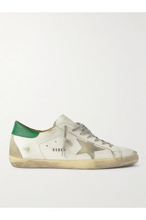 Golden Goose Men Sneakers - Superstar Distressed Leather and Suede Sneakers