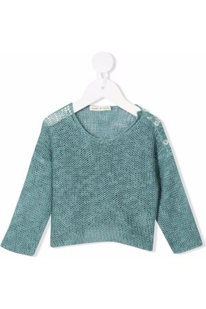 Babe And Tess Round-neck pointelle-knit jumper
