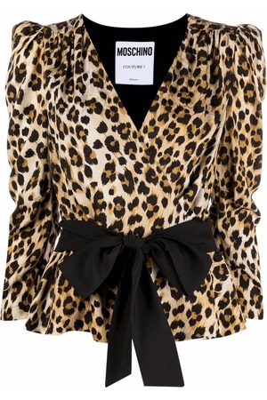 Moschino Women Blouses - Wrap-style leopard blouse