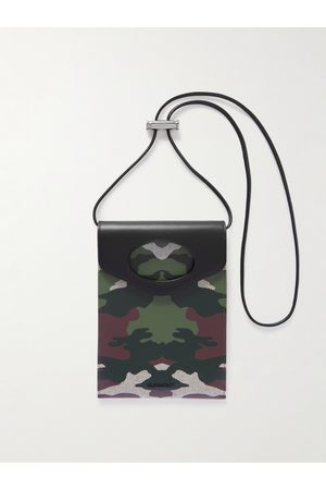 Burberry Leather-Trimmed Camouflage-Print Canvas Pouch with Lanyard