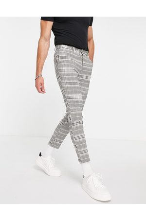 New Look Cropped slim suit trousers in check