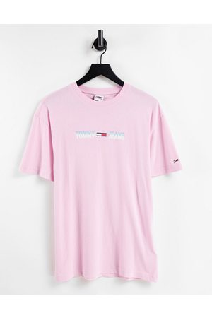 Tommy Jeans Pastel capsule linear logo t-shirt in romantic