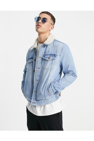 River Island Denim jacket with borg collar in