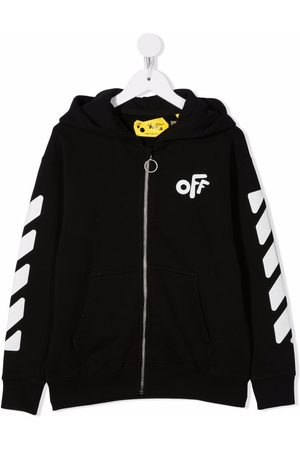 Off-White Kids OFF ROUNDED HOODIE ZIP WHITE