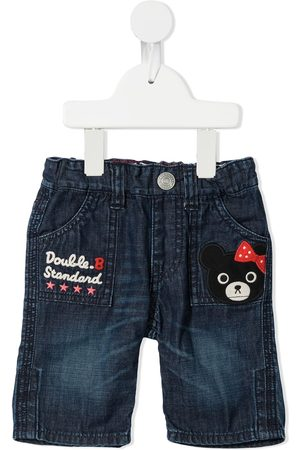 Miki House Embroidered denim trousers