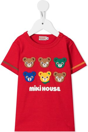 Miki House Embroidered cotton T-shirt