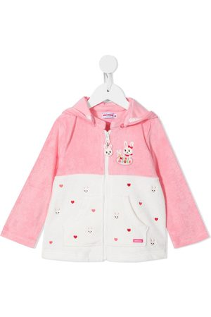 Miki House Embroidered zip-up hoodie